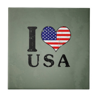 I LOVE USA - America Flag Tiles