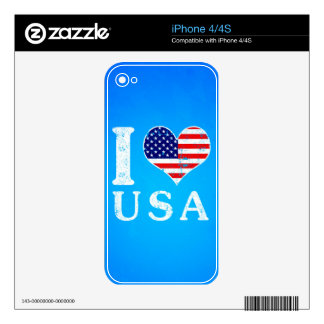 I LOVE USA - American Flag Decal For The iPhone 4S