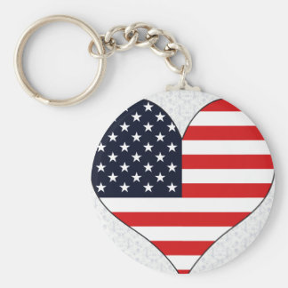 I Love Usa Basic Round Button Keychain
