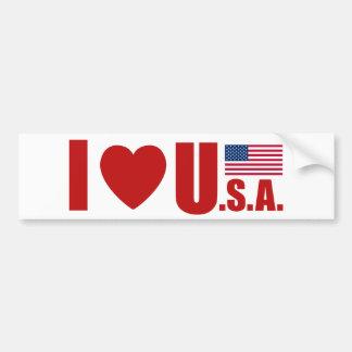 I LOVE USA BUMPER STICKER