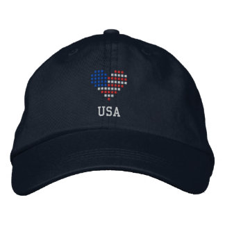 I Love USA Cap - American Heart Flag Hat Embroidered Hats