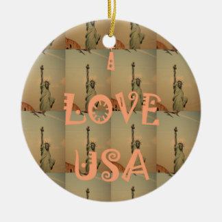 I Love USA Ceramic Ornament