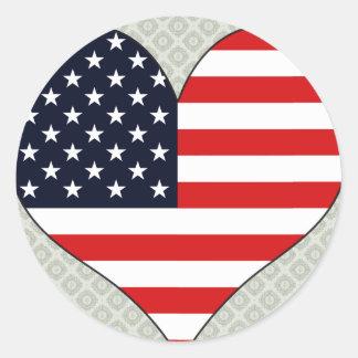 I Love Usa Classic Round Sticker