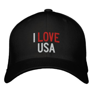 I LOVE USA EMBROIDERED HAT