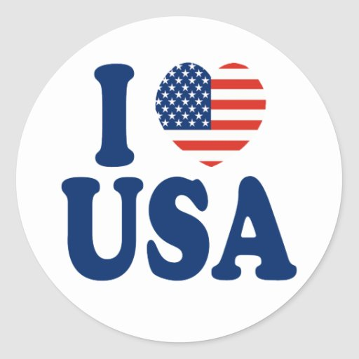 I Love USA Heart Design Classic Round Sticker
