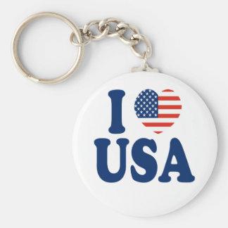 I Love USA Heart Design Keychain