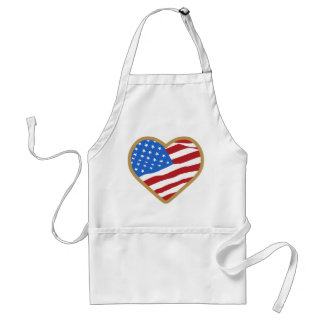 I Love USA Heart Independence Day American Adult Apron