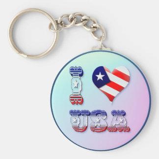 I Love USA Keychains