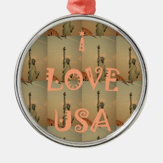 I Love USA Metal Ornament