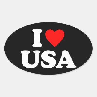 I LOVE USA OVAL STICKER