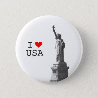 I Love USA Red Heart Liberty Status Vintage Photo Pinback Button