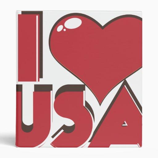 I Love USA Retro 80s Vinyl Binder
