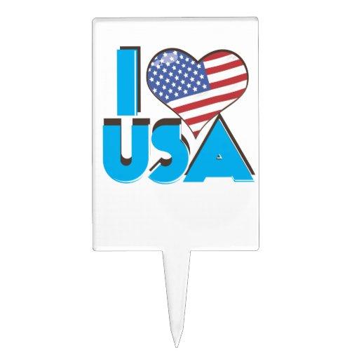 I Love USA Retro 80s Rectangle Cake Topper