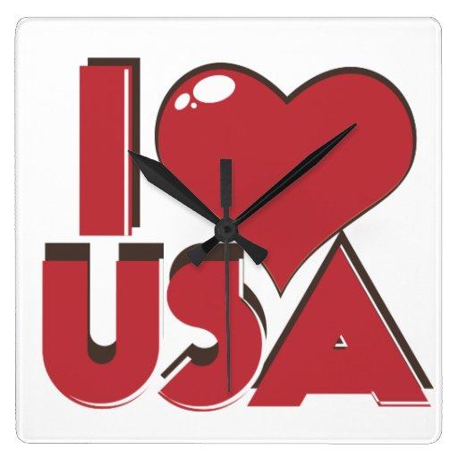 I Love USA Retro 80s Wallclock