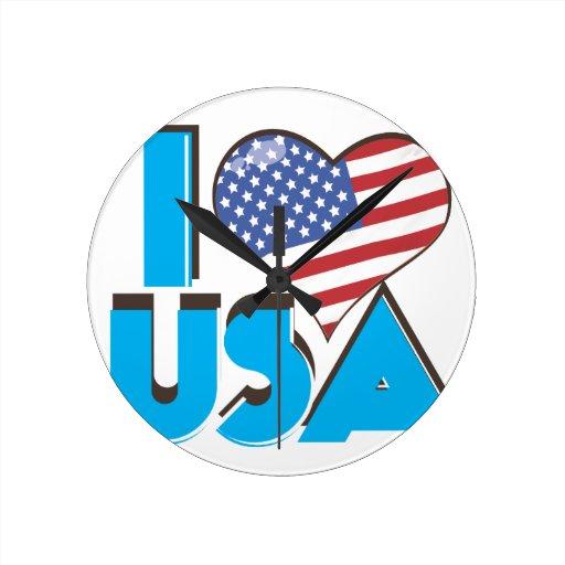 I Love USA Retro 80s Round Wall Clock