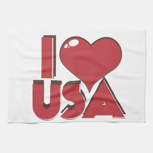 I Love USA Retro 80s Kitchen Towel