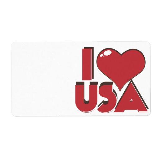 I Love USA Retro 80s Custom Shipping Label