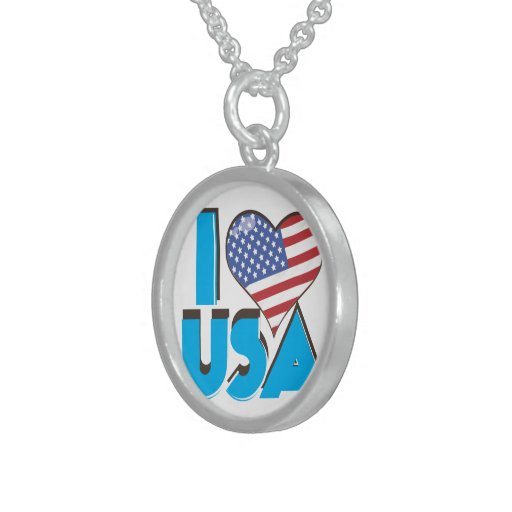 I Love USA Retro 80s Sterling Silver Necklace