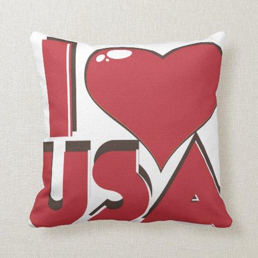 I Love USA Retro 80s Throw Pillows