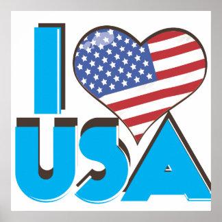 I Love USA Retro 80s Poster