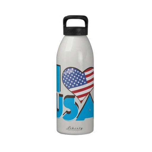 I Love USA Retro 80s Water Bottles