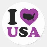 I Love USA Round Stickers
