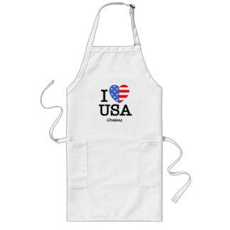 I Love USA (Stars n Stripes) Long Apron