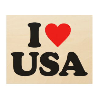 I LOVE USA WOOD CANVASES