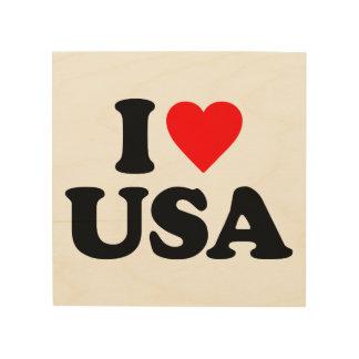 I LOVE USA WOOD CANVAS