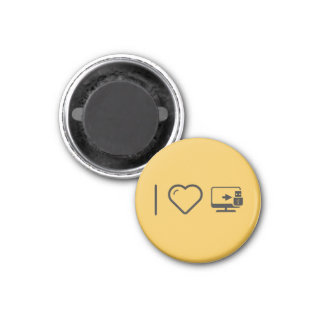 I Love Usb Connectors 1 Inch Round Magnet