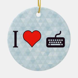 I Love Using A Keyboard Ceramic Ornament