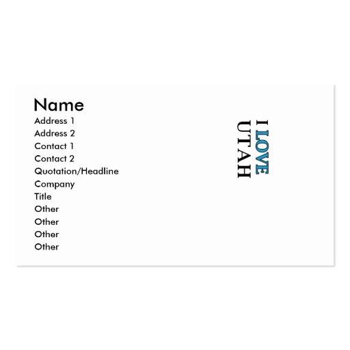 I Love Utah Design Business Card