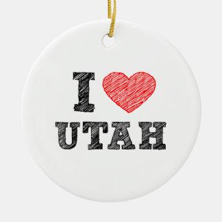 I-love-Utah.png Ceramic Ornament