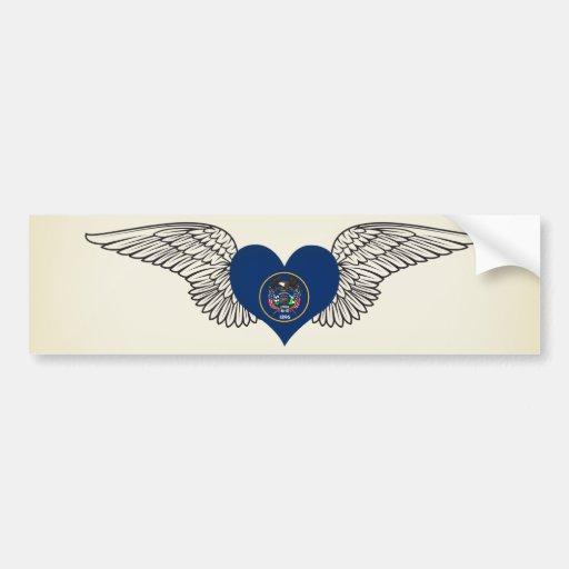 I Love Utah -wings Car Bumper Sticker