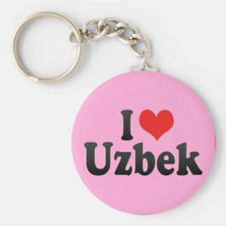 I Love Uzbek Basic Round Button Keychain
