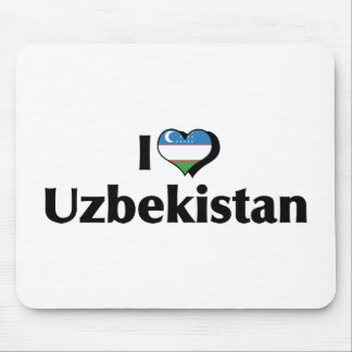 I Love Uzbekistan Flag Mouse Pad