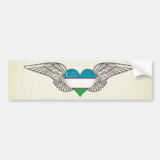 I Love Uzbekistan -wings Car Bumper Sticker