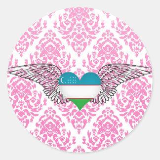 I Love Uzbekistan -wings Classic Round Sticker