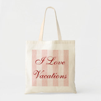 I Love Vacations Wording Pink Peach Floral Border Tote Bag