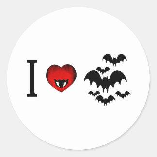 I Love Vampire Bats Classic Round Sticker