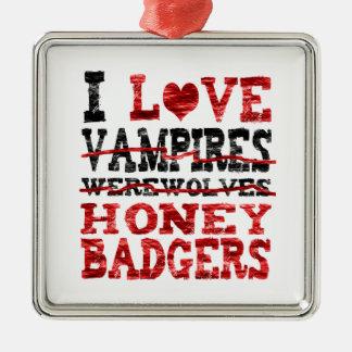 I love vampires werewolves honey badger christmas ornaments