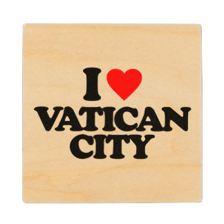 I LOVE VATICAN CITY MAPLE WOOD COASTER