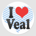 I Love Veal Round Stickers