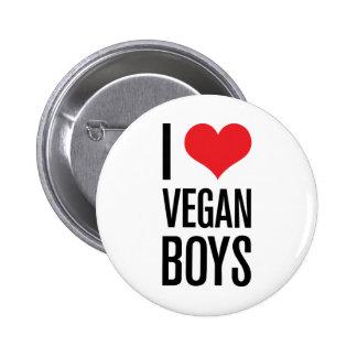 I Love Vegan Boys Pinback Button
