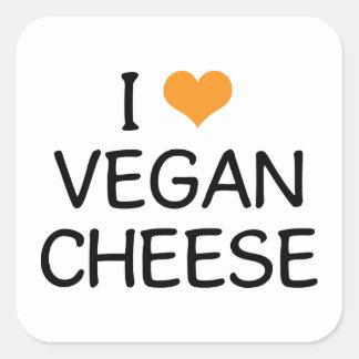 I Love Vegan Cheese Square Stickers