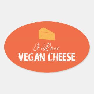 I Love Vegan Cheese Oval Sticker