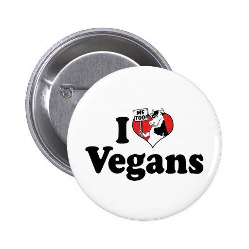 I Love Vegans Button