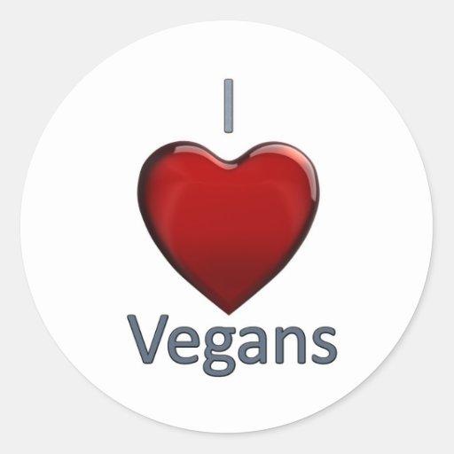 I Love Vegans Classic Round Sticker