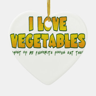 I love vegetables ceramic ornament