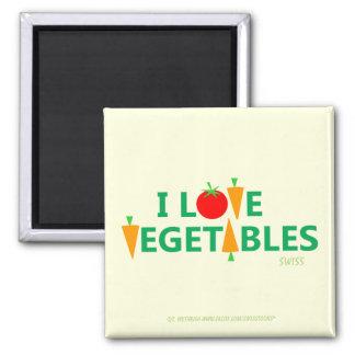 I Love Vegetables Cute Rebus Style Tomato & Carrot Magnet